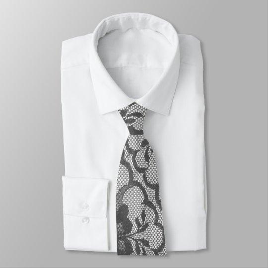 Style Elegant  Royal Silver Grey White Lace Tie