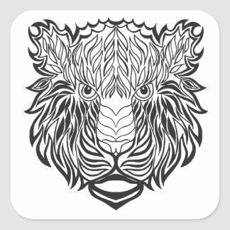 Style Tiger Head Square Sticker