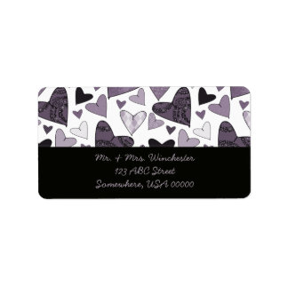 Stylised Hearts Address Label