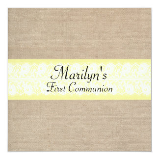 Stylish Amber Lace Burlap First Communion Card