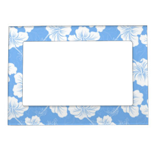 Stylish and Fashionable White Floral on Baby Blue. Picture Frame Magnets
