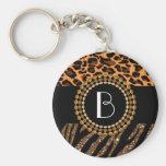 Stylish Animal Prints Zebra and Leopard Patterns Basic Round Button Key Ring