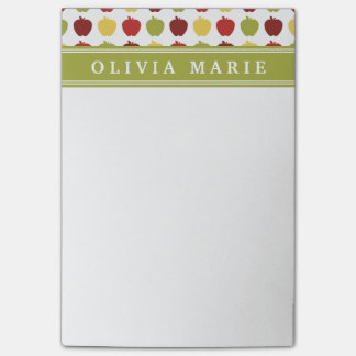 Stylish Apple Pattern with Personalized Name Post-it Notes
