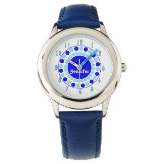 Stylish Aqua & Blue Dots Custom Wrist Watch