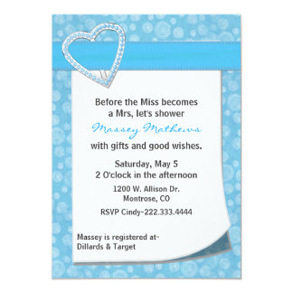 Stylish Aquamarine Heart Bridal Shower Invitation