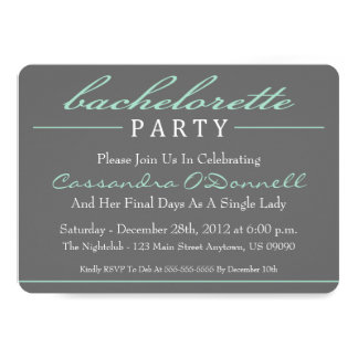 Stylish Bachelorette Party Invitations (Green)