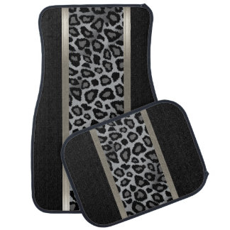 Stylish Black and Grey Leopard Animal Pattern Car Mat