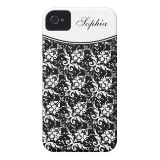 Stylish Black and White Floral Pattern with Name iPhone 4 Case-Mate Case
