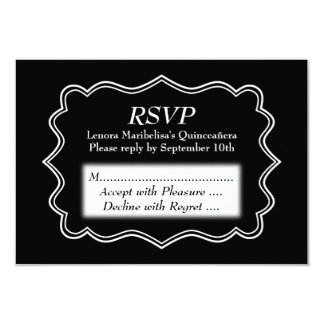 Stylish Black and White Quinceanera Card
