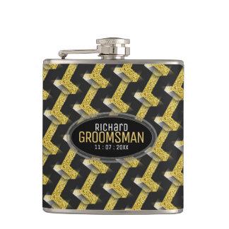 Stylish Black Gold Custom Design Groomsmen Gift Hip Flask