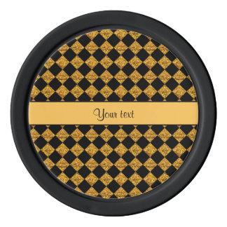 Stylish Black & Orange Glitter Checkers Poker Chips