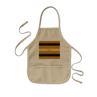 Stylish Black & Orange Glitter Stripes Kids Apron