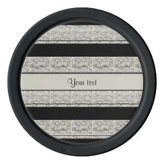 Stylish Black & Silver Glitter Stripes Poker Chips