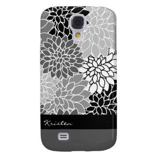 Stylish Black & White Floral Pattern Custom Galaxy S4 Case
