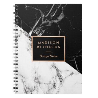Stylish Black White Marble Texture Designer Notes Spiral Notebook