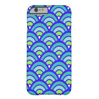 Stylish Blue and Green Scales Pattern Barely There iPhone 6 Case