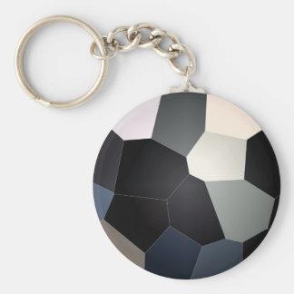 Stylish Blue Black Stained Glass Design Basic Round Button Key Ring