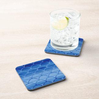 Stylish Blue Watercolor Scale Pattern Coasters