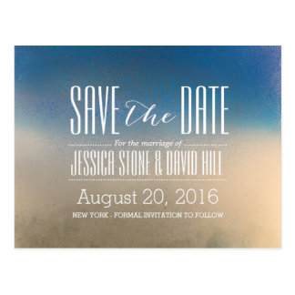 Stylish Blue & White Winter Wedding Save the Date Postcard
