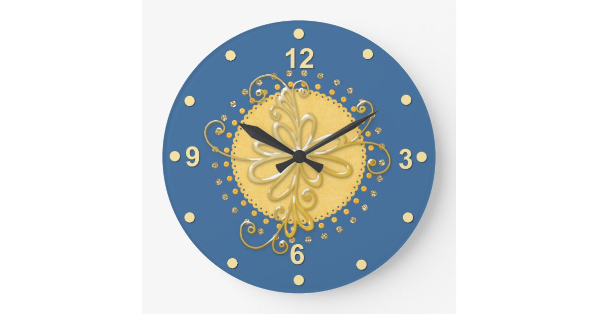 Stylish Blue Amp Yellow Wall Clock Zazzle Co Nz