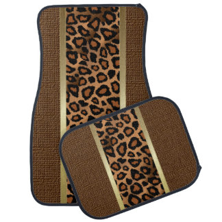 Stylish Brown Leopard Animal  Pattern Car Mat