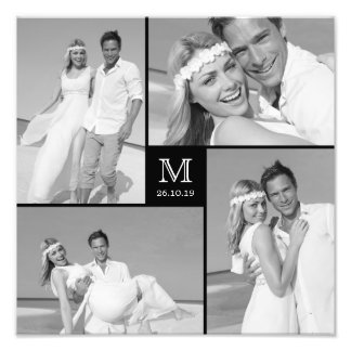 Stylish Center Square Monogram Wedding Photo Print