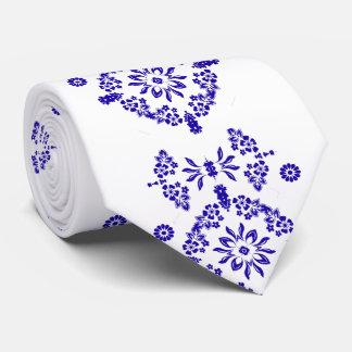 Stylish China Blue and White Flower Motif Tie