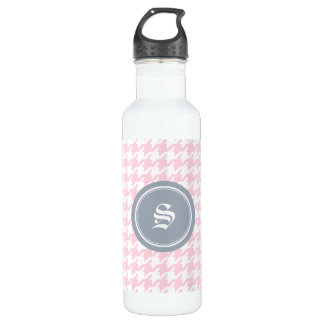 Stylish classic pink houndstooth with monogram 710 ml water bottle