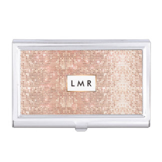 Stylish Copper Sequins Fashion and Beauty Monogram Business Card Holder