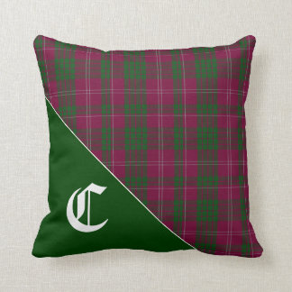 Stylish Crawford Clan Tartan Plaid Monogram Cushion