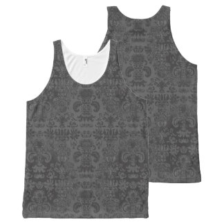 Stylish-Day-to-Night-Gray-Damask-Women's-Tank-Top All-Over Print Singlet