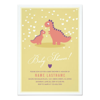 Stylish Dinosaur Yellow Pink Baby Shower Invite