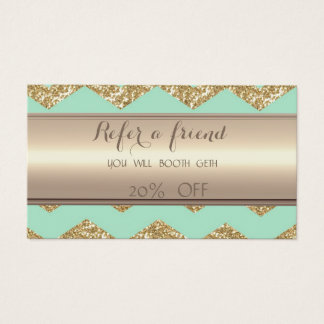 Stylish Faux Gold Glittery Zigzag  Referral Card