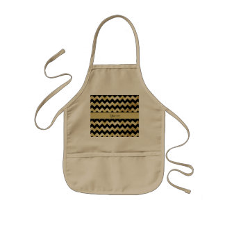 Stylish Gold & Black ZigZags Kids Apron