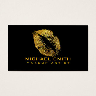 Stylish Gold Lips Makeup Artist Business Card