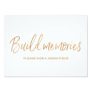 "Stylish Gold Rose Wedding ""Build memories"" Sign Card"