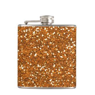 Stylish Golden Orange Glitter Hip Flask