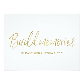 "Stylish Golden Wedding ""Build memories"" Sign Card"