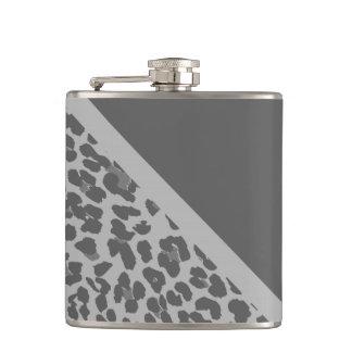 Stylish Gray Leopard Print Pattern Flask