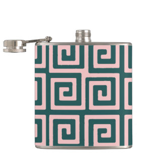 Stylish Greek Key pattern Pink Forest Flask