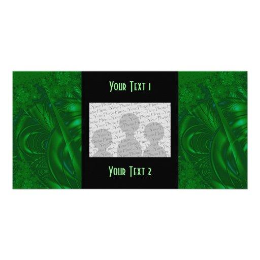 Stylish Green Abstract Art Design. Fractal. Photo Card