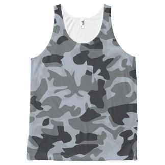 Stylish Grey Blue Camouflage Pattern All-Over Print Singlet