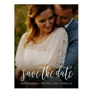 Stylish Handwritten Photo Save the Date Postcard