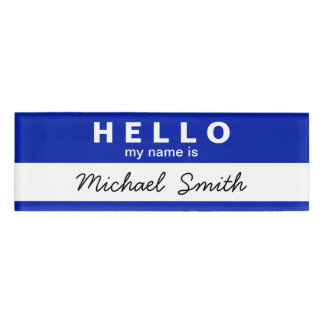 Stylish Hello My Name is Bule White Personalized Name Tag