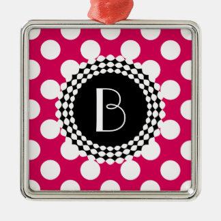 Stylish Hot Pink and White Polka Dots Pattern Christmas Ornament