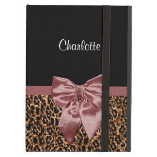 Stylish Leopard Print Elegant Brown Bow and Name iPad Air Cover