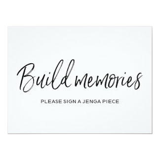 "Stylish Lettered Wedding ""Build memories"" Sign Card"