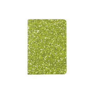 Stylish Lime Green Glitter Passport Holder