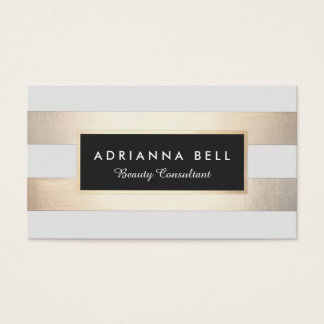 Stylish Luxe Gold Striped Beauty and Fashion Business Card