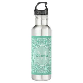 Stylish Mint Green Damask Monogram With Name 710 Ml Water Bottle